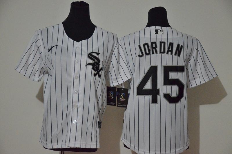 Women's Chicago White Sox #45 Michael Jordan White Stitched MLB Cool Base Nike Jersey