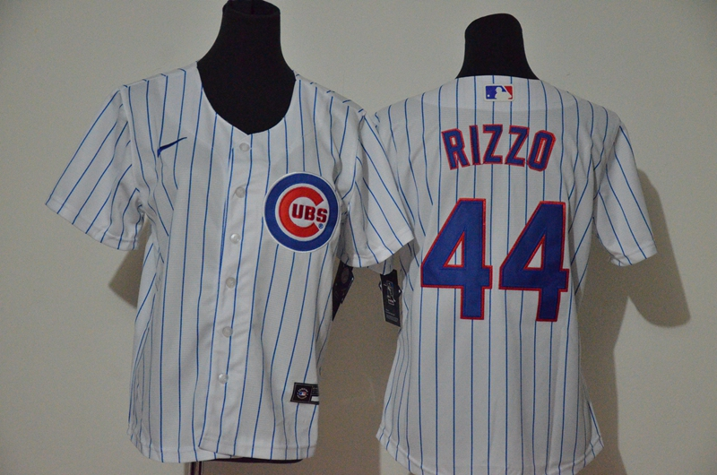 Youth Chicago Cubs #44 Anthony Rizzo White Stitched MLB Cool Base Nike Jersey