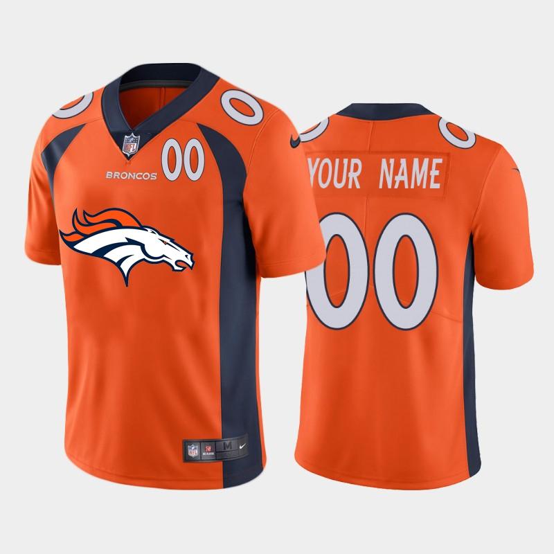 Nike Denver Broncos Customized Orange Team Big Logo Number Vapor Untouchable Limited Jersey