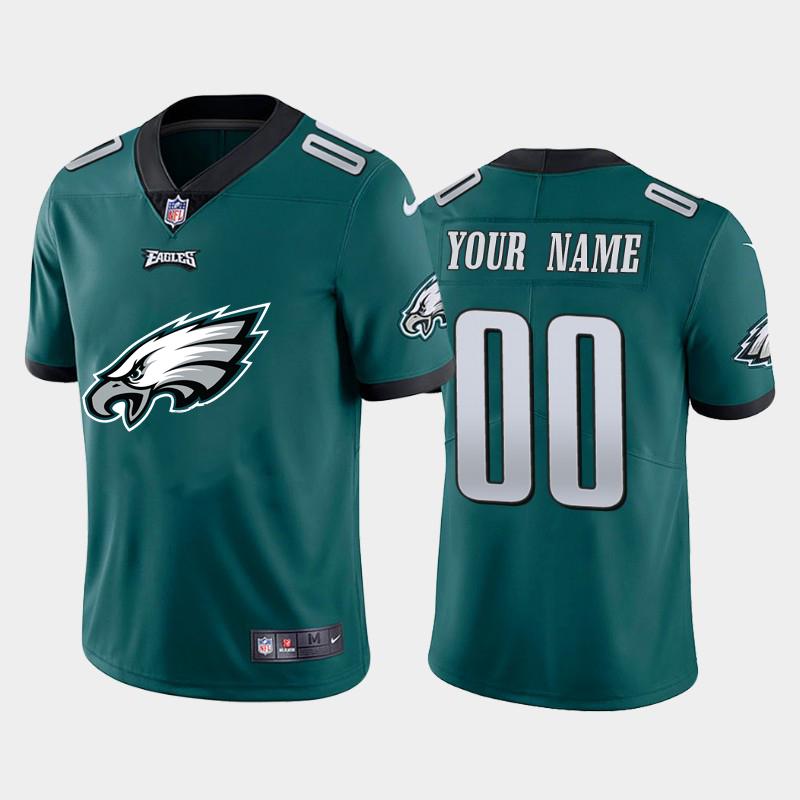 Nike Philadelphia Eagles Customized Green Team Big Logo Vapor Untouchable Limited Jersey