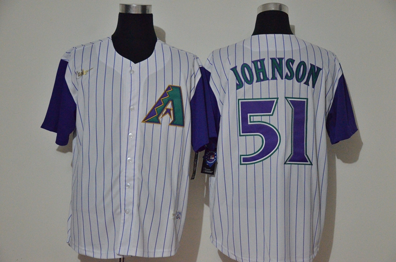 Men's Arizona Diamondbacks #51 Randy Johnson White Cooperstown Collection Throwback Stitched Nike MLB Jersey