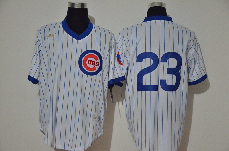 Men's Chicago Cubs #23 Ryne Sandberg White Strip Home Cooperstown Stitched Nike MLB Jersey