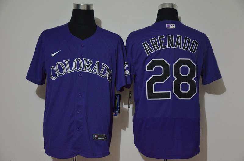 Men's Colorado Rockies #28 Nolan Arenado Purple Stitched MLB Flex Base Nike Jersey