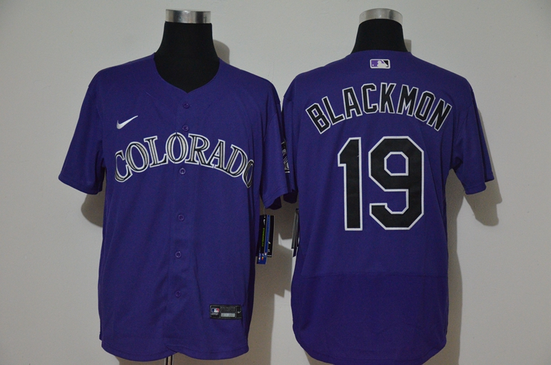 Men's Colorado Rockies #19 Charlie Blackmon Purple Stitched MLB Flex Base Nike Jersey