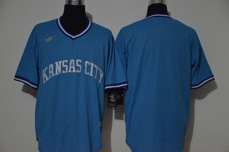 Men's Kansas City Royals Blank Light Blue Pullover Cool Base Cooperstown Collection Stitched Nike MLB Jersey