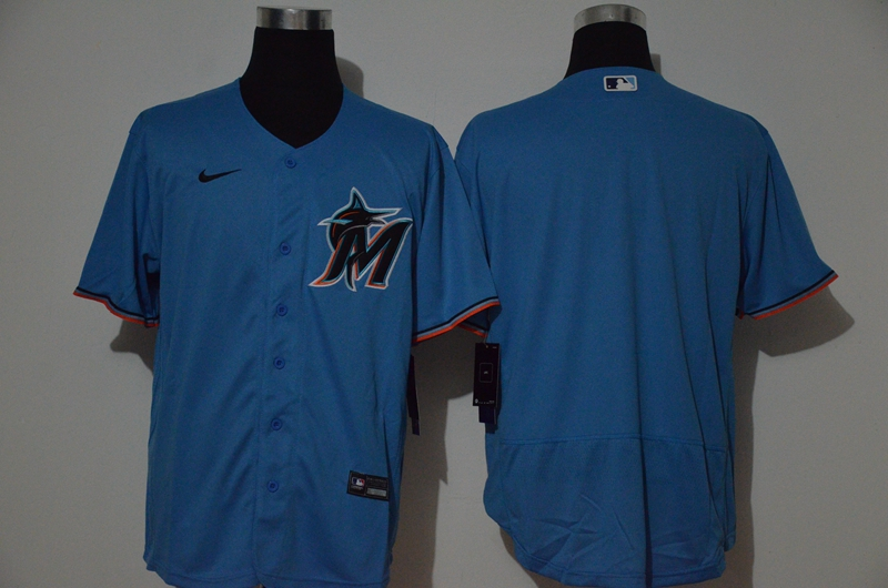 Men's Miami Marlins Blank Blue Stitched MLB Flex Base Nike Jersey