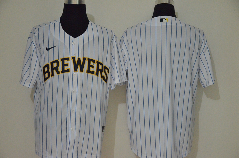 Men's Milwaukee Brewers Blank White Stitched MLB Cool Base Nike Jersey