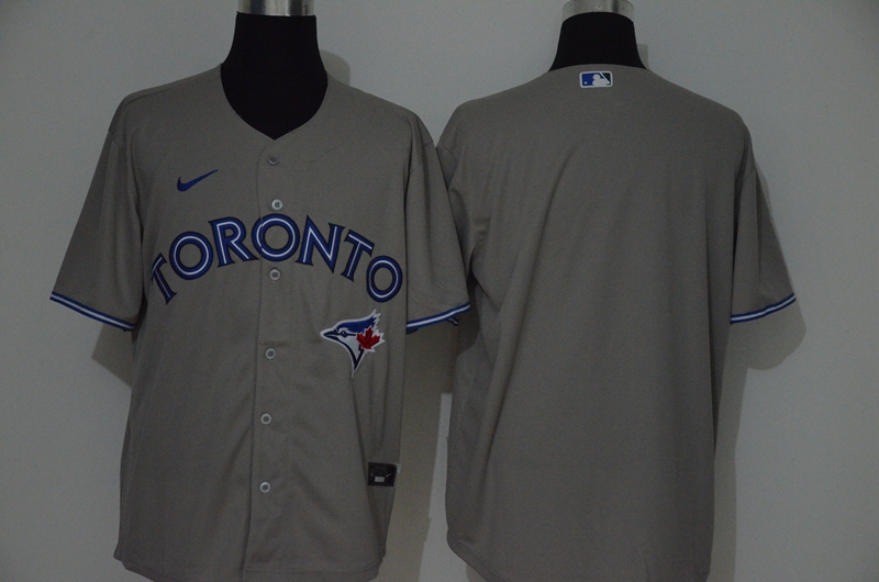 Men's Toronto Blue Jays Blank Gray Stitched MLB Cool Base Nike Jersey