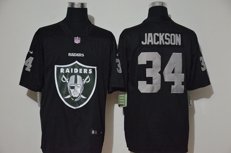 Men's Las Vegas Raiders #34 Bo Jackson Black 2020 Big Logo Vapor Untouchable Stitched NFL Nike Fashion Limited Jersey