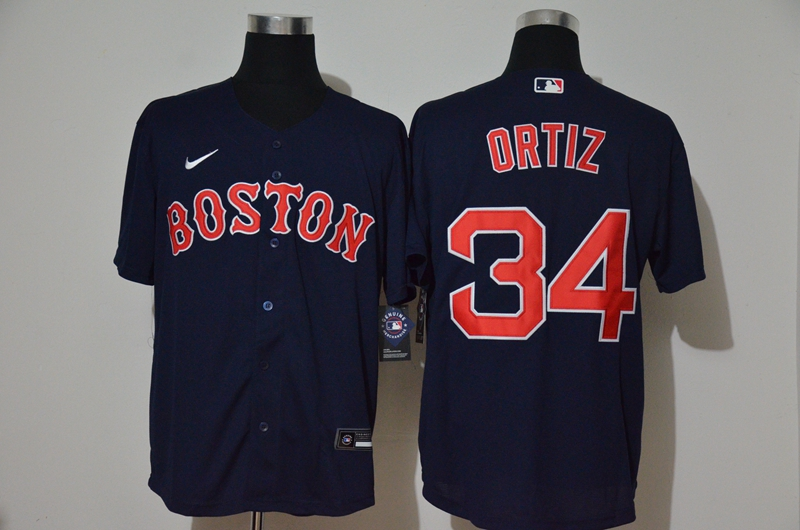 Men's Boston Red Sox #34 David Ortiz Navy Blue Stitched MLB Cool Base Nike Jersey