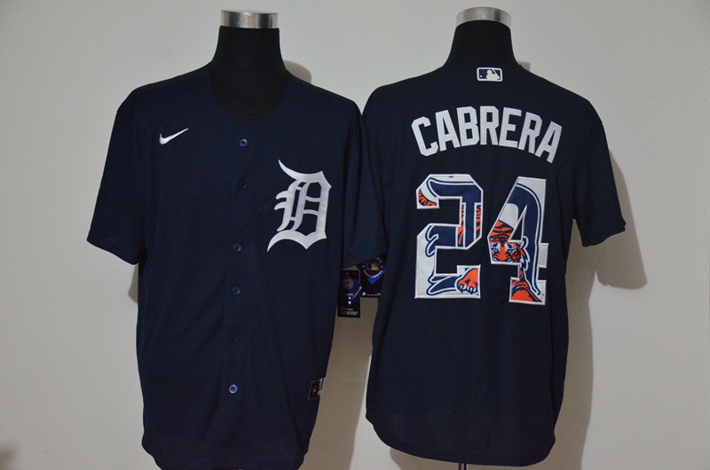 Men's Detroit Tigers #24 Miguel Cabrera Navy Blue Team Logo Stitched MLB Cool Base Nike Jersey