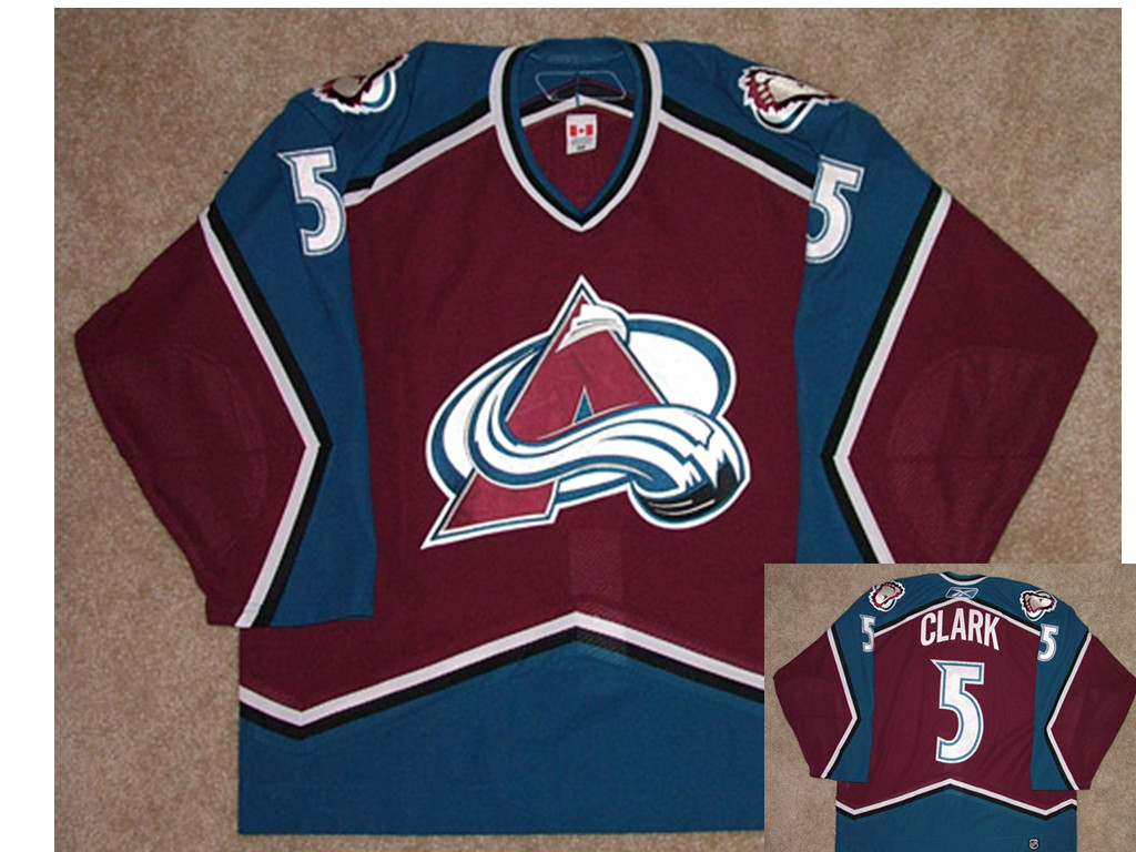 Men's Colorado Avalanche #5 Brett Clark Game Worn Reebok Jersey