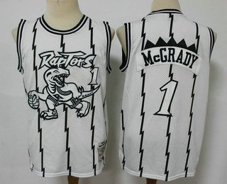 Men's Toronto Raptors #1 Tracy McGrady 1998-99 White Silver Hardwood Classics Soul Swingman Throwback Jersey