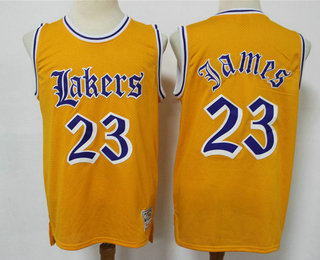 Men's Los Angeles Lakers #23 LeBron James Yellow English Version Hardwood Classics Soul Swingman Throwback Jersey