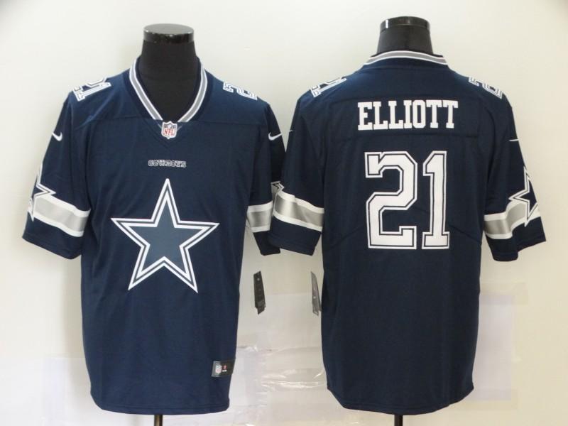 Men's Dallas Cowboys #21 Ezekiel Elliott Navy Blue 2020 Big Logo Vapor Untouchable Stitched NFL Nike Fashion Limited Jersey