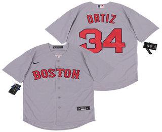 Men's Boston Red Sox #34 David Ortiz Gray Stitched MLB Cool Base Nike Jersey