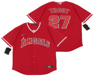 Men's Los Angeles Angels #27 Mike Trout Red Stitched MLB Cool Base Nike Jersey
