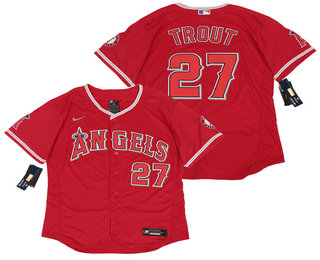 Men's Los Angeles Angels #27 Mike Trout Red Stitched MLB Flex Base Nike Jersey