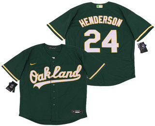 Men's Oakland Athletics #24 Rickey Henderson Green Stitched MLB Cool Base Nike Jersey