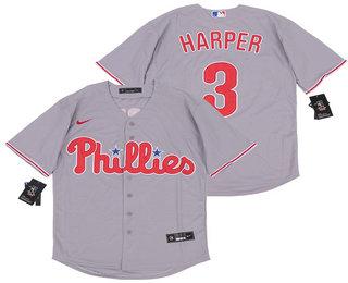 Men's Philadelphia Phillies #3 Bryce Harper Gray Stitched MLB Cool Base Nike Jersey