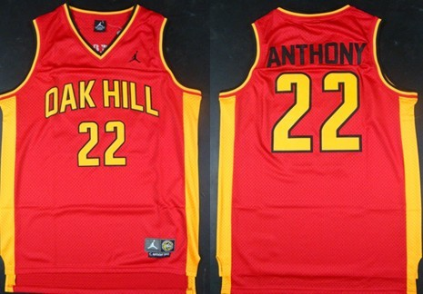 Size 5XL Oak Hill Academy #22 Carmelo Anthony Red Swingman Jersey