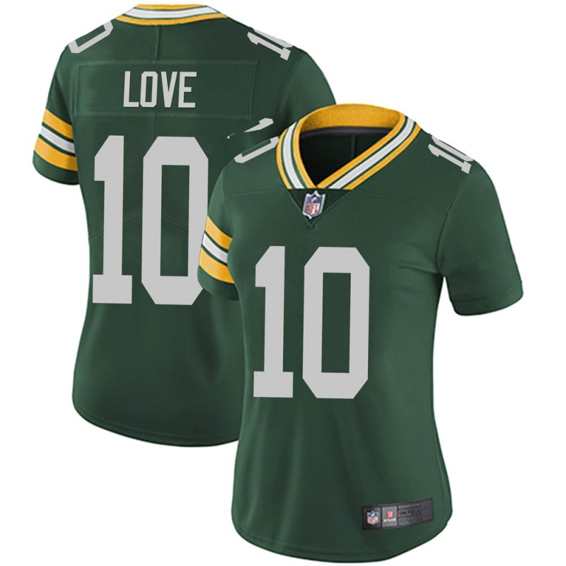 Women's Green Bay Packers #10 Jordan Love Green Limited Team Color Vapor Untouchable Jersey