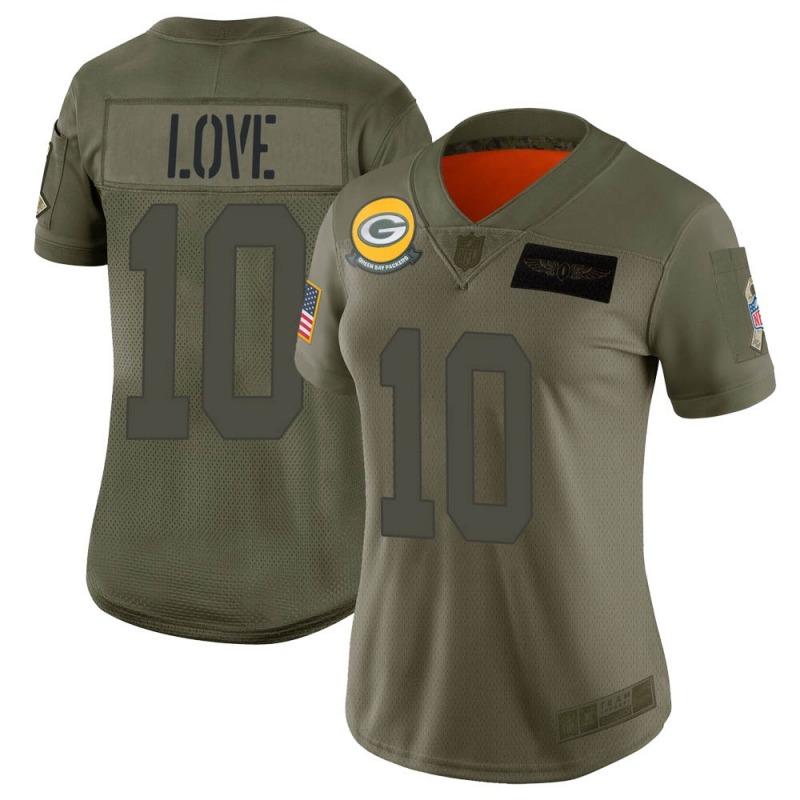 Women's Green Bay Packers #10 Jordan Love Camo Limited 2019 Salute to Service Jersey