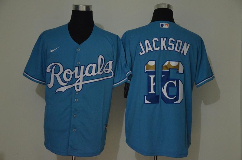 Men's Kansas City Royals #16 Bo Jackson Light Blue Team Logo Stitched MLB Cool Base Nike Jersey