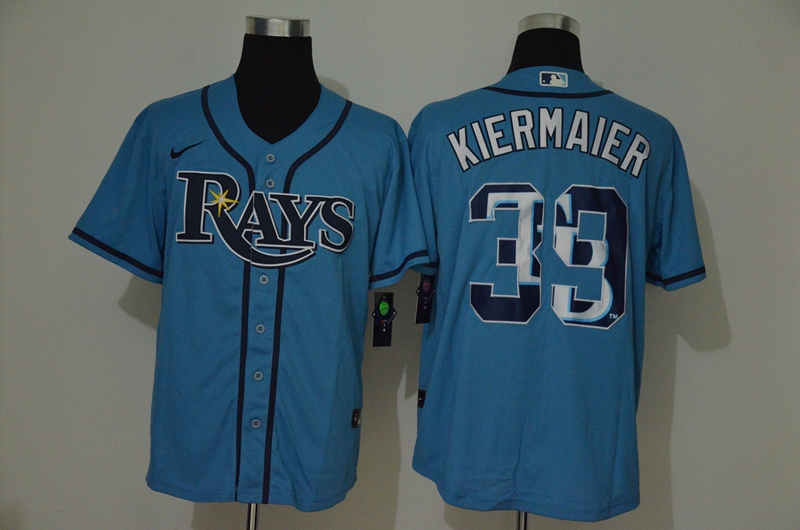 Men's Tampa Bay Rays #39 Kevin Kiermaier Light Blue Team Logo Stitched MLB Cool Base Nike Jersey