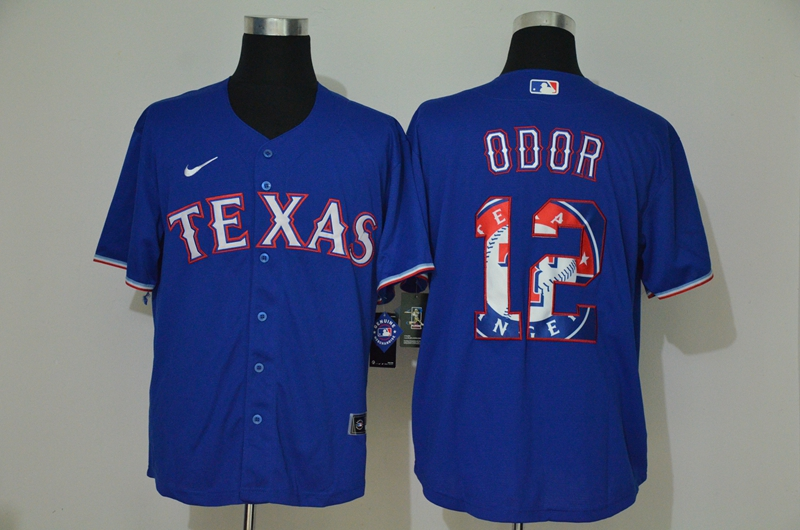 Men's Texas Rangers #12 Rougned Odor Blue Team Logo Stitched MLB Cool Base Nike Jersey