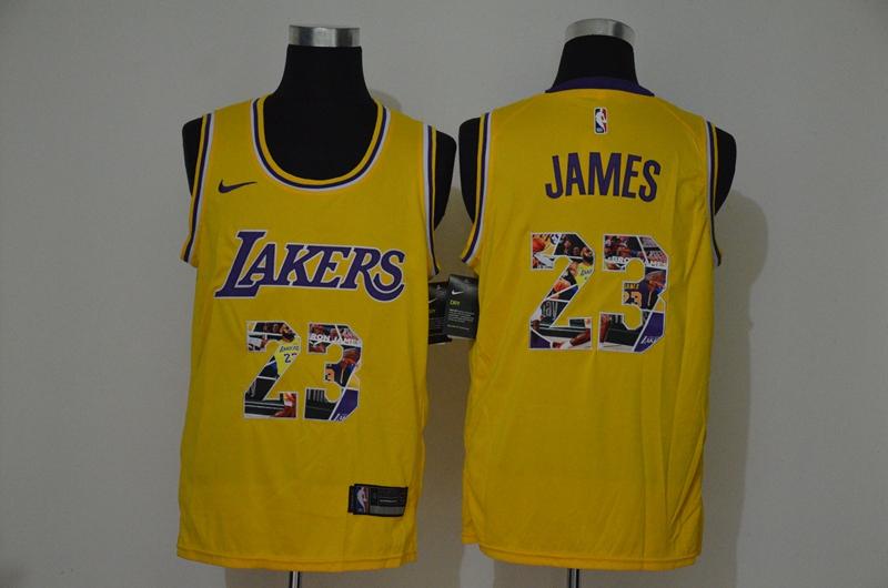 Men's Los Angeles Lakers #23 LeBron James Yellow Nike Swingman Stitched NBA Fashion Jersey