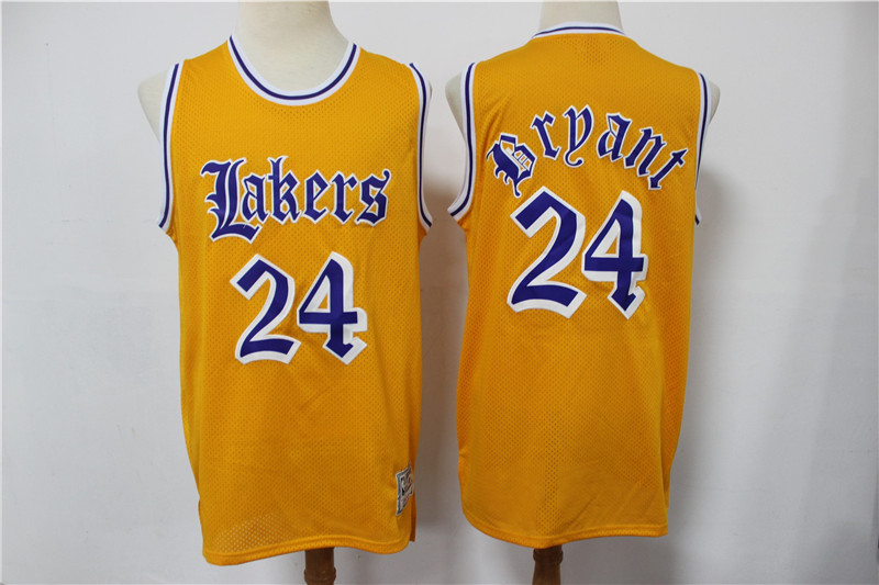 Men's Los Angeles Lakers #24 Kobe Bryant Yellow English Version Hardwood Classics Soul Swingman Throwback Jersey