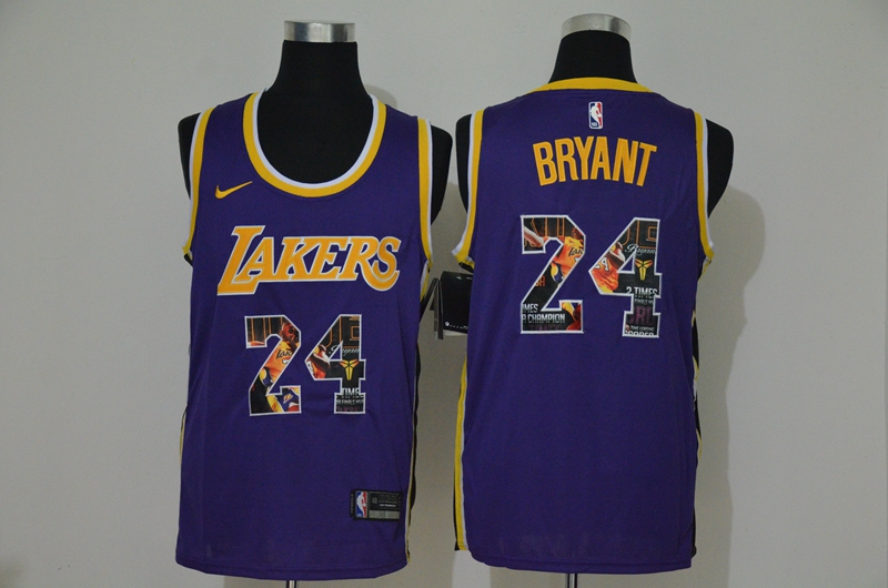 Men's Los Angeles Lakers #24 Kobe Bryant Purple Nike Swingman Stitched NBA Fashion Jersey