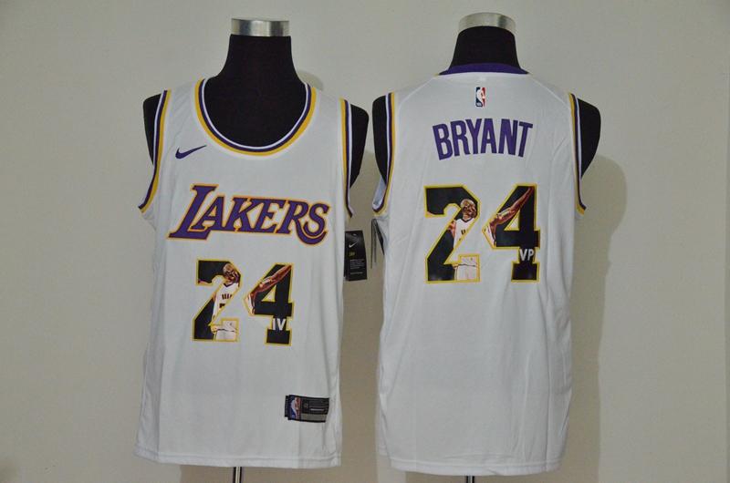 Men's Los Angeles Lakers #24 Kobe Bryant White Nike Swingman Stitched NBA Fashion Jersey