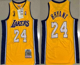 Men's Los Angeles Lakers #24 Kobe Bryant Yellow Champion Patch 2008-09 Hardwood Classics Soul AU Throwback Jersey