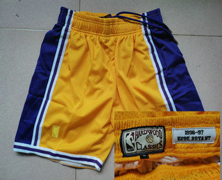 Men's Los Angeles Lakers #24 Kobe Bryant 1996-97 Yellow Hardwood Classics Soul Swingman Throwback Shorts
