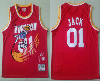 Travis Scott X Br X Mn Houston Rockets #01 Jack Red Basketball Swingman Stitched Throwback Jersey