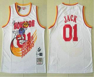 Travis Scott X Br X Mitchell Ness Houston Rockets #01 Jack White Basketball Swingman Stitched Throwback Jersey