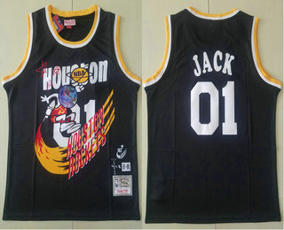 Travis Scott X Br X Mitchell Ness Houston Rockets #01 Jack Black Basketball Swingman Stitched Throwback Jersey