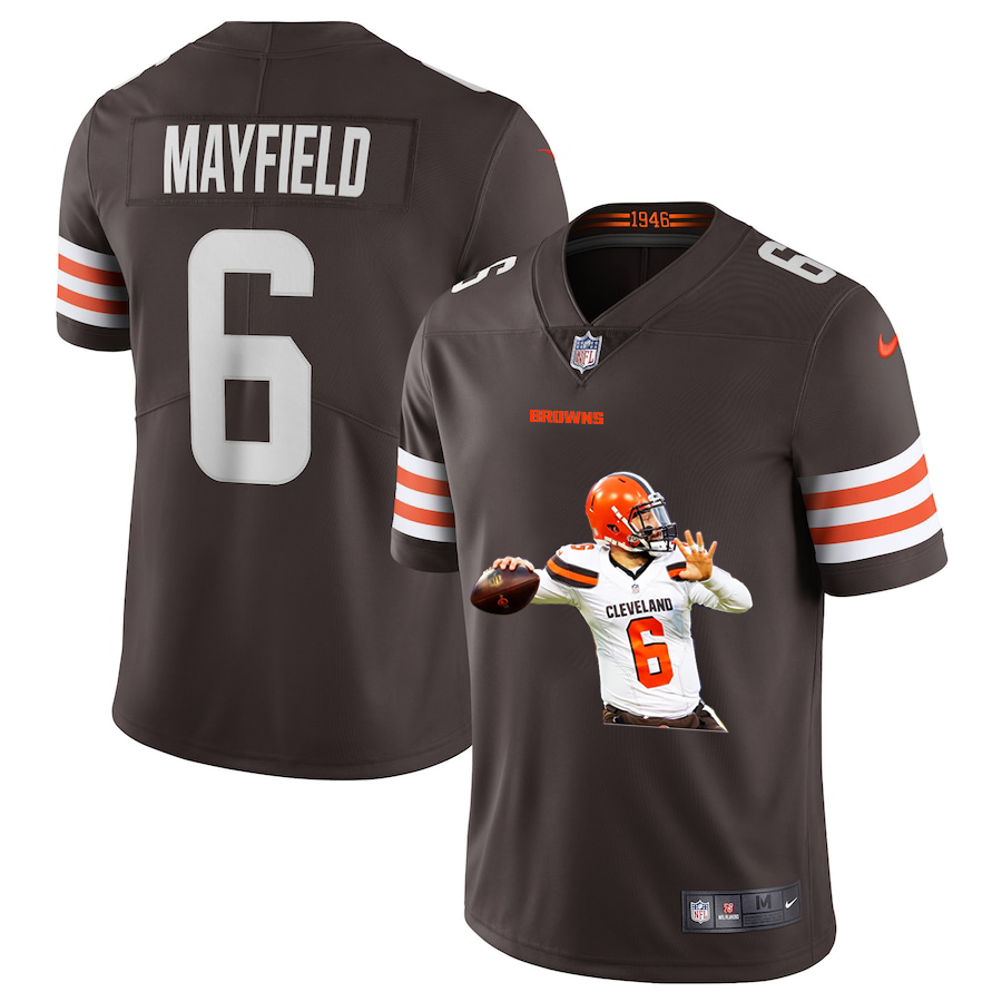 Men's Cleveland Browns #6 Baker Mayfield Brown Brown Player Portrait Edition 2020 Vapor Untouchable Stitched NFL Nike Limited Jersey