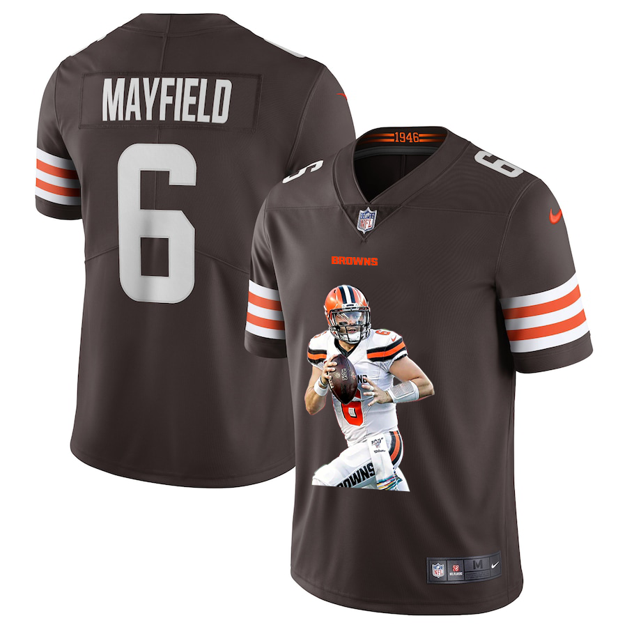 Men's Cleveland Browns #6 Baker Mayfield Brown Brown Player Portrait Edition 2020 Vapor Untouchable Stitched NFL Nike Limited Jersey1