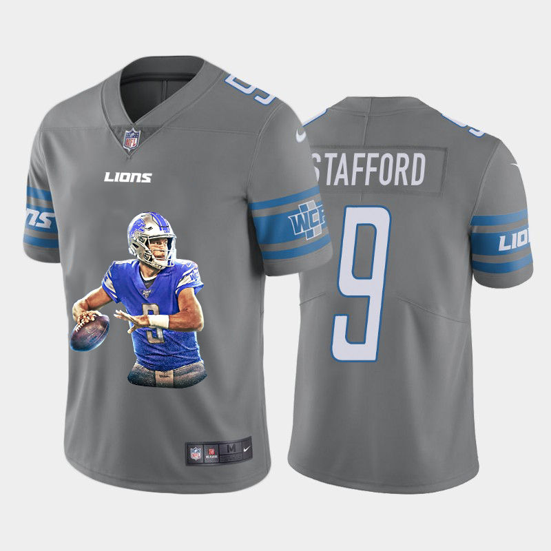 Men's Detroit Lions #9 Matthew Stafford Grey Player Portrait Edition 2020 Vapor Untouchable Stitched NFL Nike Limited Jersey