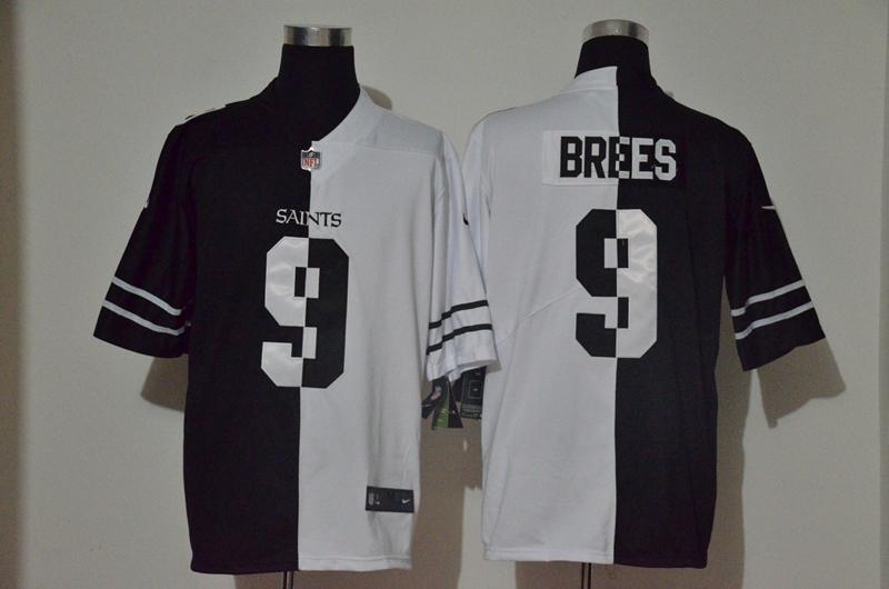 Men's New Orleans Saints #9 Drew Brees Black White Peaceful Coexisting 2020 Vapor Untouchable Stitched NFL Nike Limited Jersey