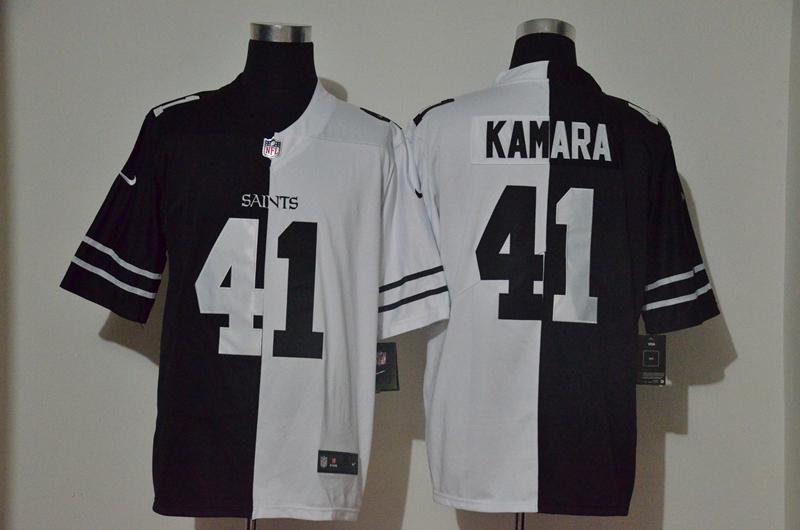 Men's New Orleans Saints #41 Alvin Kamara Black White Peaceful Coexisting 2020 Vapor Untouchable Stitched NFL Nike Limited Jersey