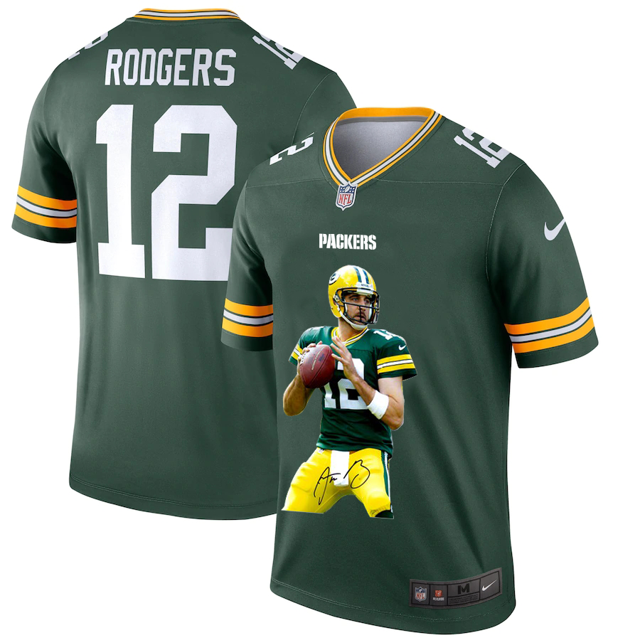 Men's Green Bay Packers #12 Aaron Rodgers Green Player Portrait Edition 2020 Vapor Untouchable Stitched NFL Nike Limited Jersey