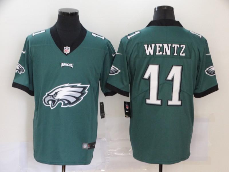Men's Philadelphia Eagles #11 Carson Wentz Midnight Green 2020 Big Logo Vapor Untouchable Stitched NFL Nike Fashion Limited Jersey