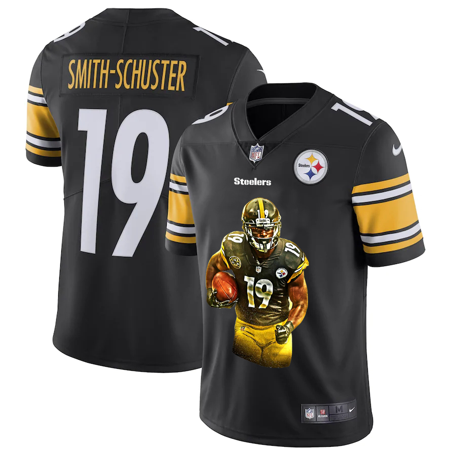 Men's Pittsburgh Steelers #19 JuJu Smith-Schuster Black Player Portrait Edition 2020 Vapor Untouchable Stitched NFL Nike Limited Jersey