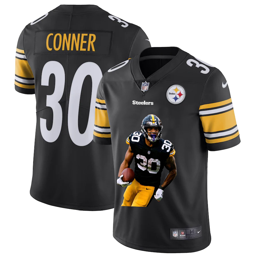 Men's Pittsburgh Steelers #30 James Conner Black Player Portrait Edition 2020 Vapor Untouchable Stitched NFL Nike Limited Jersey