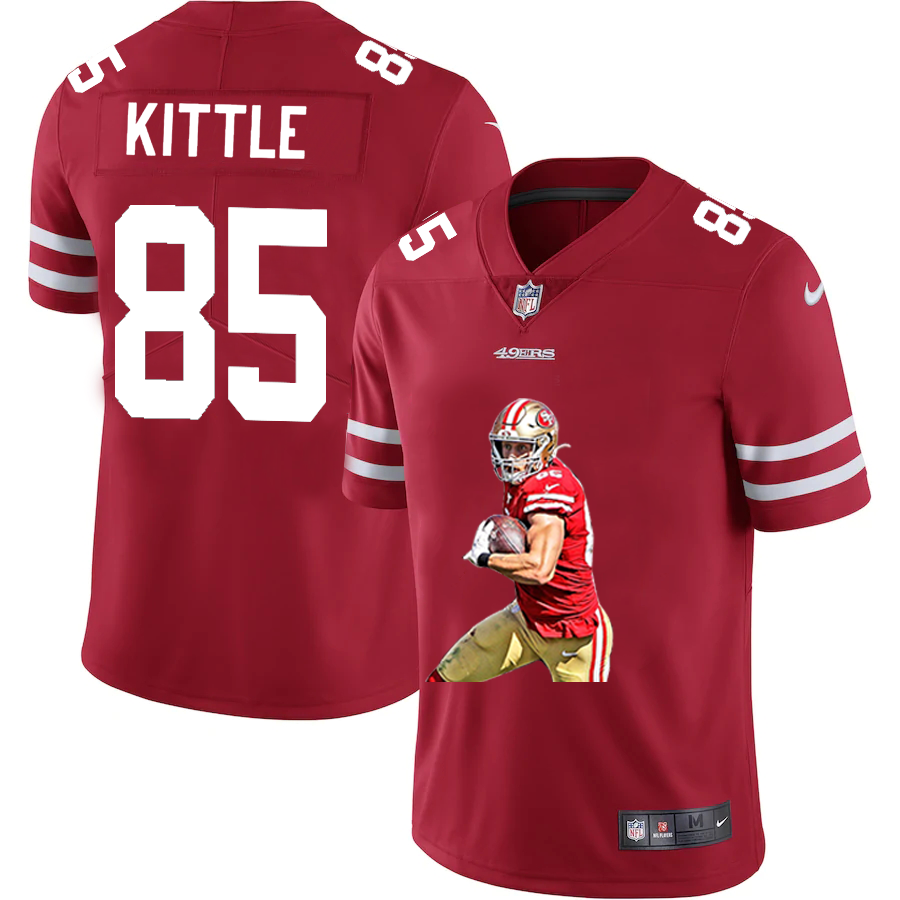 Men's San Francisco 49ers #85 George Kittle Red Player Portrait Edition 2020 Vapor Untouchable Stitched NFL Nike Limited Jersey