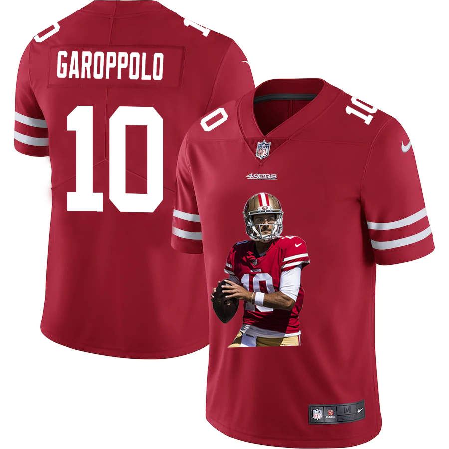 Men's San Francisco 49ers #10 Jimmy Garoppolo Red Player Portrait Edition 2020 Vapor Untouchable Stitched NFL Nike Limited Jersey
